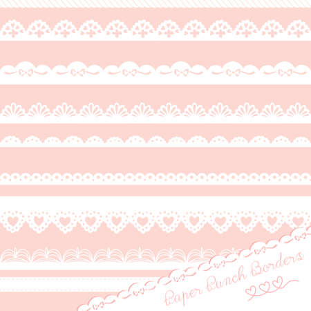Set of hand-drawn Lace Paper Punch Borders Stock Vector - 16681067