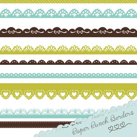Set of hand-drawn Lace Paper Punch Borders Ilustração