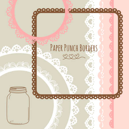 Set of hand-drawn Lace Paper Punch Borders and frames 向量圖像
