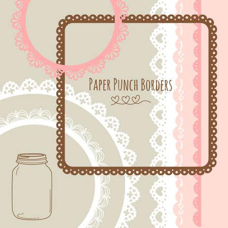 Set of hand-drawn Lace Paper Punch Borders and frames Ilustração