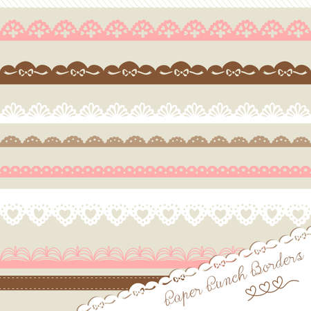 Set of hand-drawn Lace Paper Punch Borders  Vector