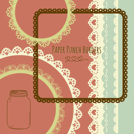 scrapbooking paper: Set of hand-drawn Lace Paper Punch Borders and frames