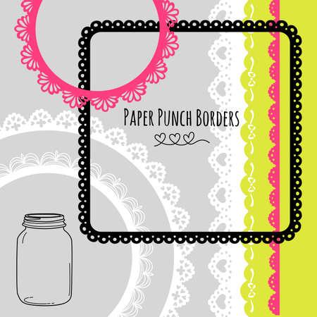 Jeu de dessinées à la main en dentelle de papier frontières Punch et cadres Banque d'images - 16681050
