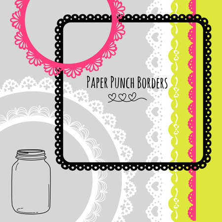 wedding dress: Set of hand-drawn Lace Paper Punch Borders and frames