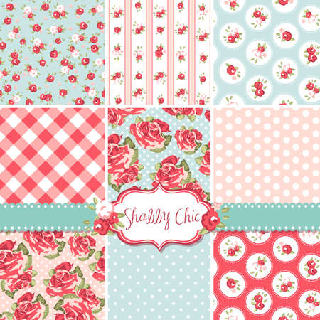 Shabby Chic Rose Patterns and seamless backgrounds. Ideal for printing onto fabric and paper or scrap booking.  Ilustração