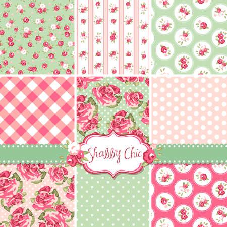 Shabby Chic Rose Patronen en naadloze achtergronden. Ideaal voor het printen op stof en papier of schroot het boeken. Vector Illustratie