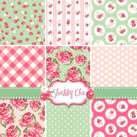 shabby chic: Shabby Chic Rose Patterns and seamless backgrounds. Ideal for printing onto fabric and paper or scrap booking.  Illustration