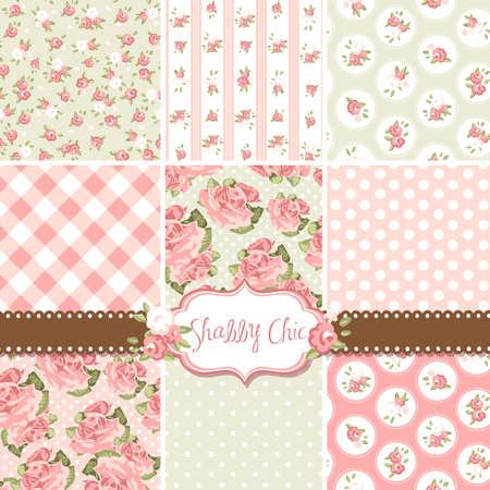 Shabby Chic Rose Patronen en naadloze achtergronden. Ideaal voor het printen op stof en papier of schroot het boeken.