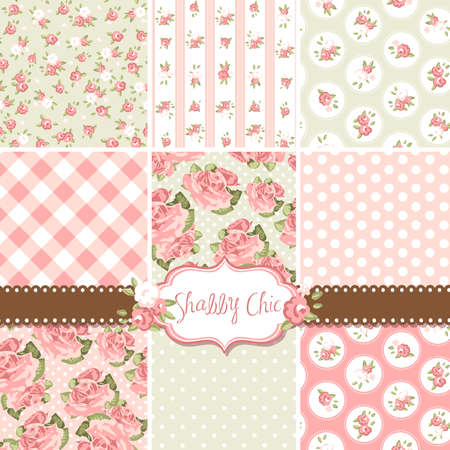 Shabby Chic Rose Patterns and seamless backgrounds. Ideal for printing onto fabric and paper or scrap booking.  Vettoriali