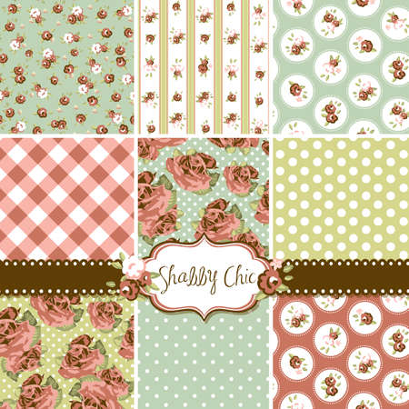 Shabby Chic Rose Patterns and seamless backgrounds. Ideal for printing onto fabric and paper or scrap booking.  Vector