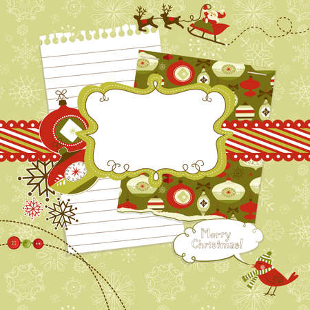 Cute Christmas scrapbook elements Stock Vector - 16681267