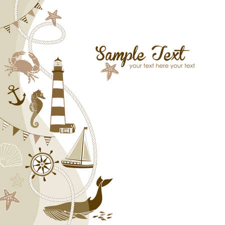 Nautical border with space for your text  Vector