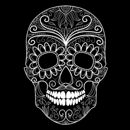 tete de mort: Jour du cr�ne mort en noir et blanc Illustration