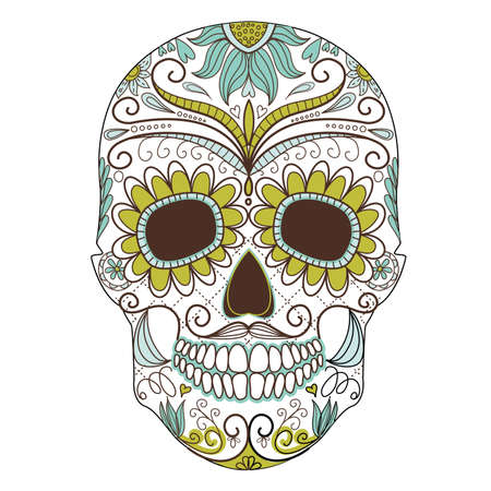 skull tattoo: Dag van de Dode kleurrijke Schedel met florale versiering