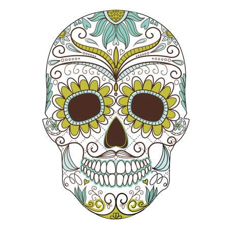mexican art: Giorno del cranio morto colorato con ornamento floreale