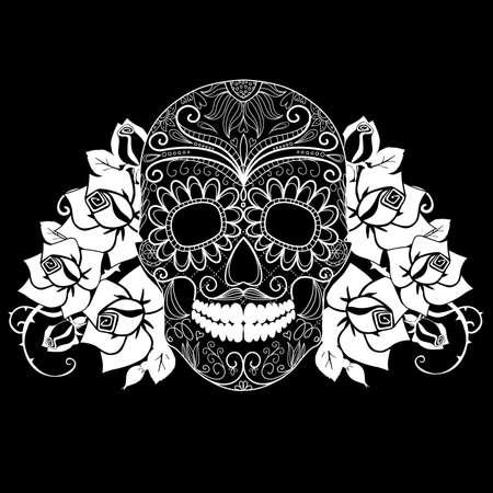 skull tattoo: Schedel en rozen, zwart en wit Dag van de Doden kaart