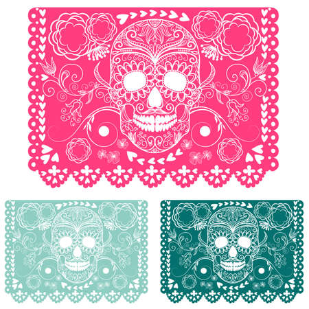 sugar skull: Day of the dead decoration. Papel Picado  Illustration