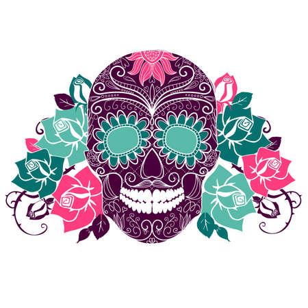 skull tattoo: Schedel en rozen, Kleurrijke Dag van de Dode-kaart