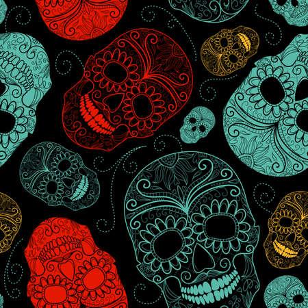 頭蓋骨とシームレスな青、黒と赤の背景  イラスト・ベクター素材