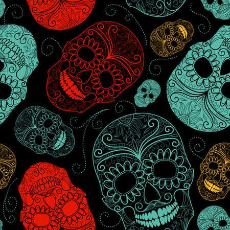 Seamless Blue, Black and Red background with skulls Banco de Imagens - 16681283