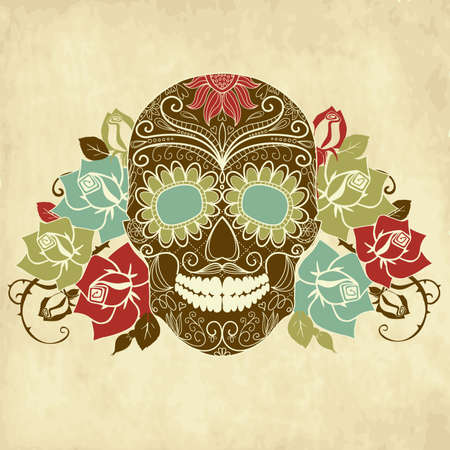 skull and flowers: Cr�neo y rosas, D�a colorido de la tarjeta Dead Vectores