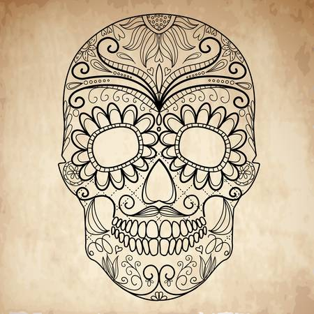 skull tattoo: Day of The Dead grungy Skull Illustration