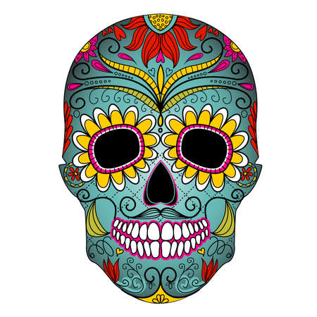 skull tattoo: Day of The Dead colorful Skull with floral ornament Illustration