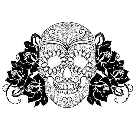 dia de muertos: Cráneo y rosas, el día en blanco y negro de la tarjeta Dead