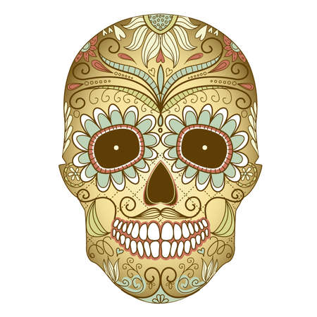 voodoo: Day of The Dead colorful Skull with floral ornament