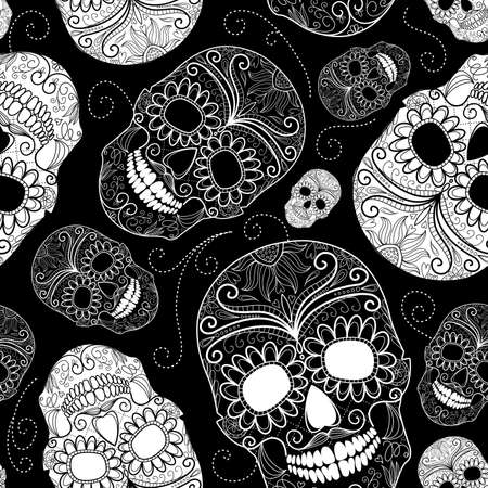 rose tattoo: Seamless black and white background with skulls
