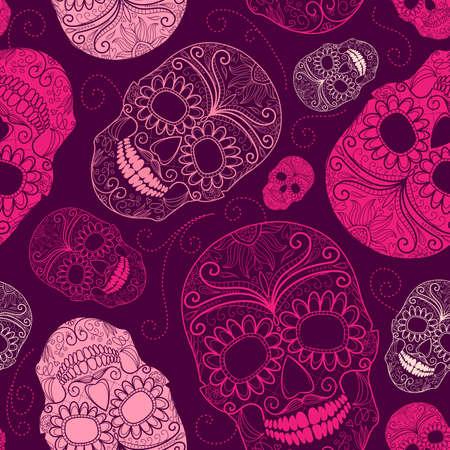 skull tattoo: Naadloze roze en paarse achtergrond met schedels Stock Illustratie