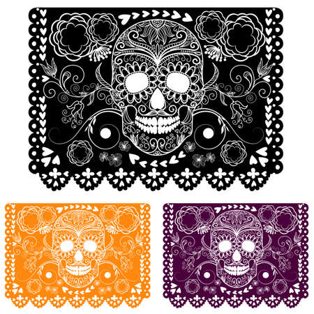 Day of the dead ecoration. Papel Picado Vector