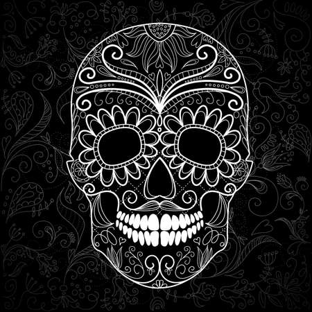 Día del cráneo muerto en blanco y negro Ilustración de vector