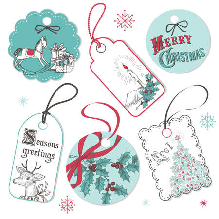Vintage Red and Blue Christmas tags   イラスト・ベクター素材