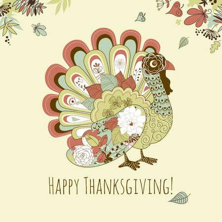 breast comic: Happy Thanksgiving beautiful turkey card Illustration