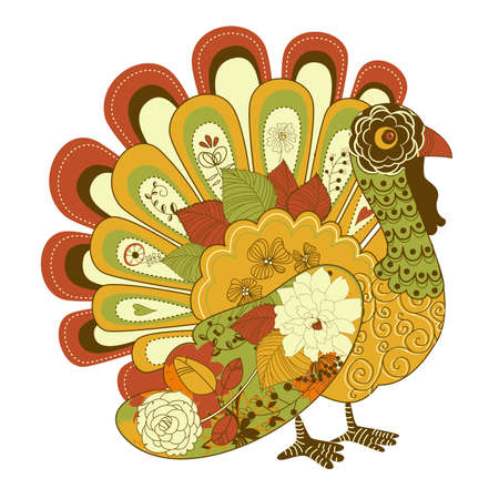 fat bird: Happy Thanksgiving beautiful turkey card  Illustration