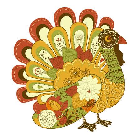 Happy Thanksgiving hermoso pavo tarjeta Ilustración de vector