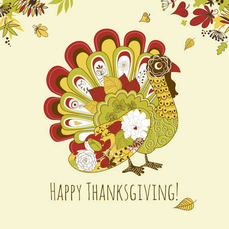 roast dinner: Happy Thanksgiving beautiful turkey card  Illustration
