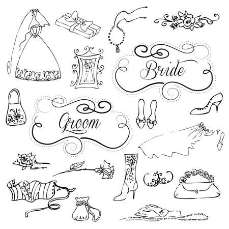 happy woman white background: Wedding set of cute glamorous doodles and frames