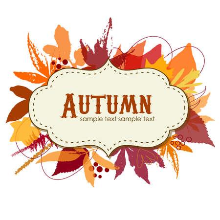 Autumn leaves achtergrond met een frame Stock Illustratie