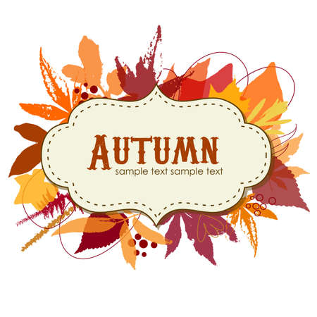 Autumn leaves background with a frame Ilustração
