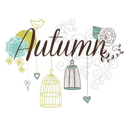 Floral Autumn background. The word Autumn decorated with birdcages and flowers Stock Vector - 16681080