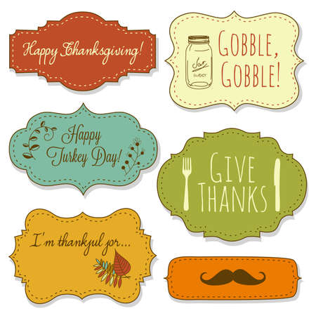 gratitudine: Happy Thanksgiving cornici Vettoriali