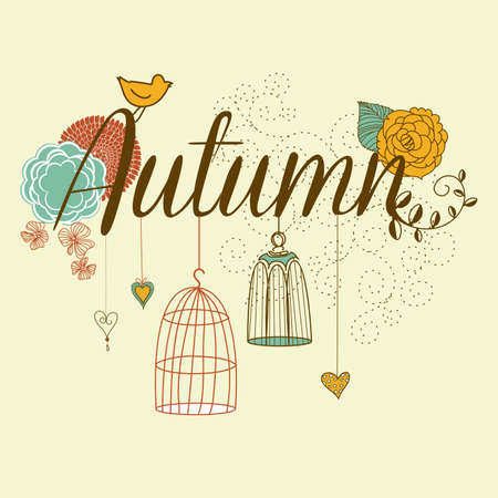 Floral Autumn background. The word Autumn decorated with birdcages and flowers  Vector