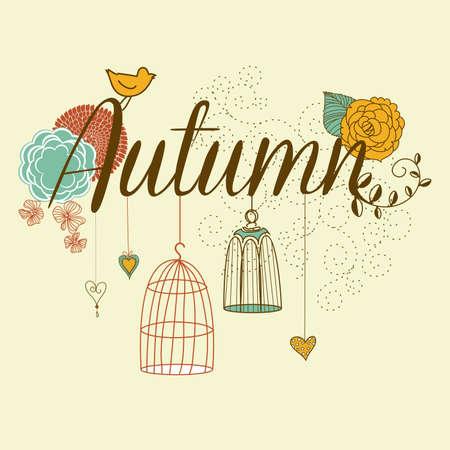 Floral Herbst Hintergrund. Das Wort Herbst mit Vogelkäfige und Blumen geschmückt Standard-Bild - 16681081