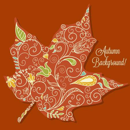 Beautiful Autumn Background. Maple Leaf Stock Vector - 16681199