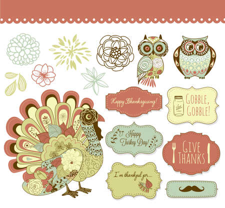 roast turkey: Happy Thanksgiving beautiful clip art  Illustration