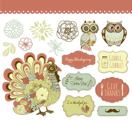 Happy Thanksgiving schönen Clip-Art- Standard-Bild - 16681201