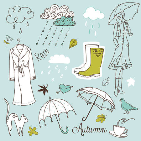 rainy season: Rainy autumn days doodles Illustration