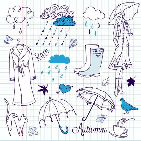 rainy sky: Lluvioso d�a de oto�o doodles Vectores